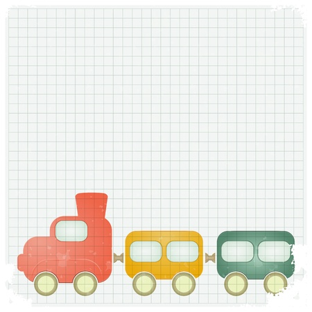 wagon wheel: retro background with a toy train and place for text - vector illustration