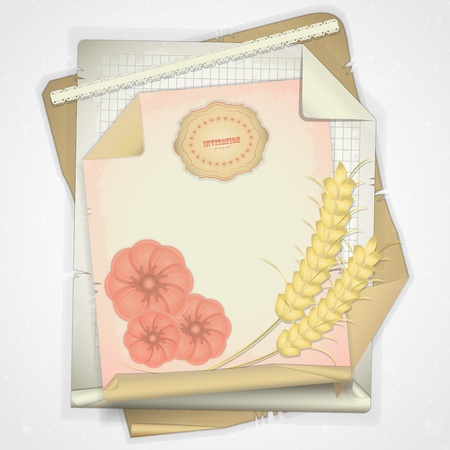 Grunge paper with ear of wheat and flowers  - card  in scrapbooking style - vector illustration Vector