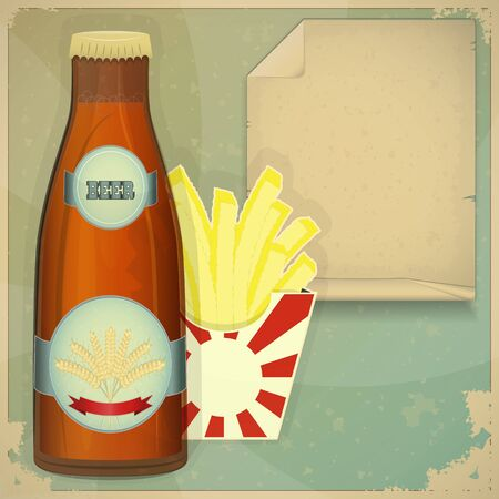 Beer and Chips Menu in vintage style - vector illustration Vector