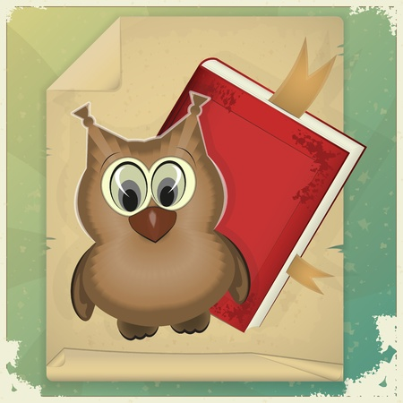 wise old owl: wise owl and book on vintage background - vector illustration