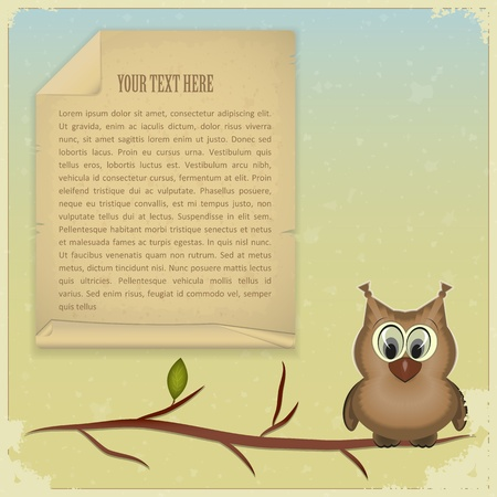 wise old owl: wise owl and old paper on vintage background - vector illustration
