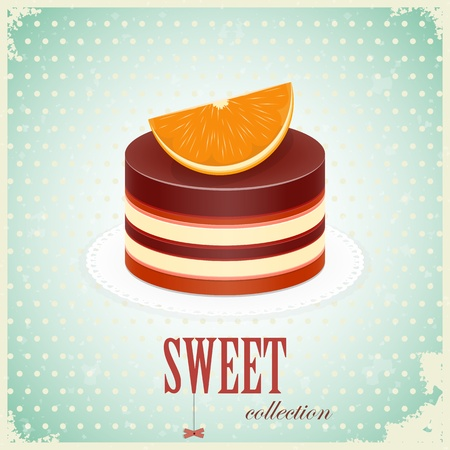 vintage postcard - Chocolate Cake with Orange - vector illustration Vector