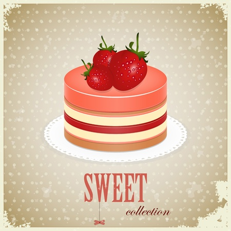 vintage postcard - Sponge Cake with Strawberry - vector illustration Vector