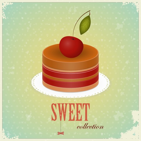 vintage postcard - Chocolate Cake with Cherry - vector illustration Stock Vector - 12487486