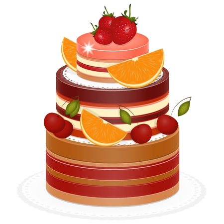 Chocolate Berry Cake on white background - vector illustration Vector