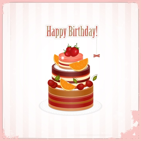 cake background: Vintage birthday card with Chocolate Berry Cake