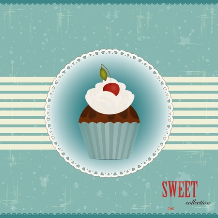 vintage postcard - Chocolate Cake with Cherry - vector illustration Stock Vector - 12487491