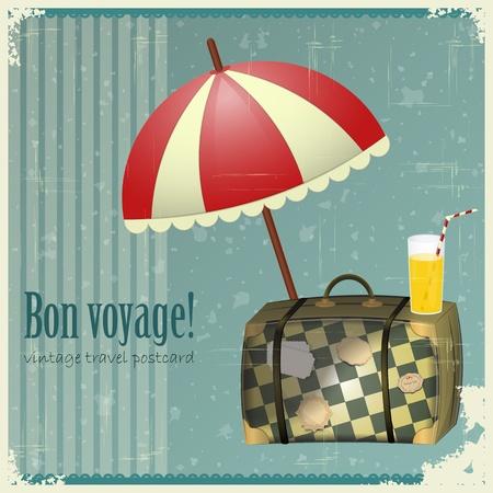 Vintage Travel Postcard - vakantie items op grunge achtergrond