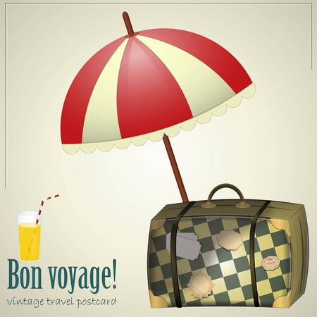 Vintage Travel Postcard - vacation items on grunge background Stock Vector - 12487494