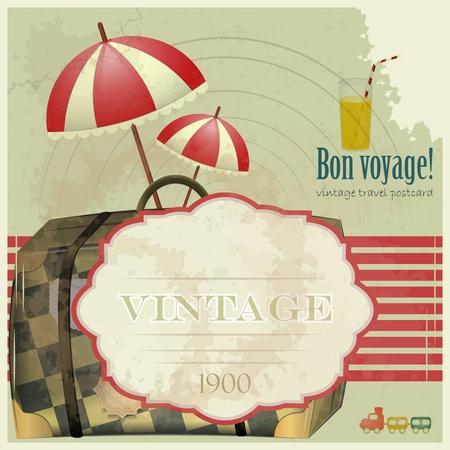 vintage travel: Carte postale de voyage de cru - articles de vacances sur le fond grunge Illustration