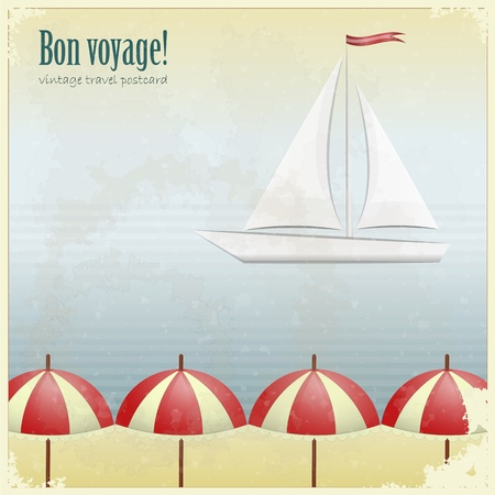 Vintage Travel Postcard - yacht and beach umbrellas on grunge background Vector