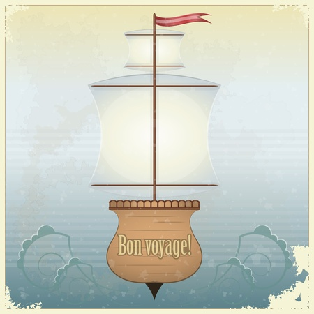 Vintage Travel Postcard - yacht  on grunge background - vector illustration Stock Vector - 12487497