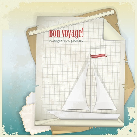 old items: Vintage Travel Postcard - yacht  on sheet of paper - vector illustration Illustration