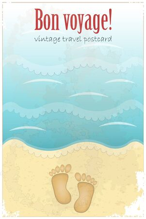 footprints in sand: Vintage Travel Postcard - footprints in sand at the beach - vector illustration