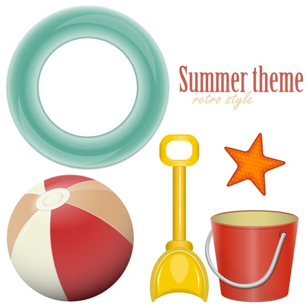 Beach toys -  ball, shovel, bucket,  lifeline - isolated on white background - set - vector illustration Vector