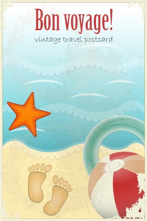 starfish beach: Vintage Travel Postcard - footprints in sand and beach items - vector illustration Illustration