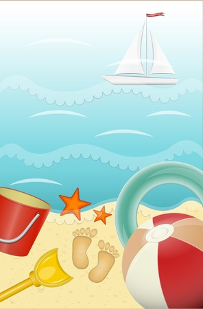 Summer Holiday Card - objects on the sea-beach background - vector illustration Stock Vector - 12487500