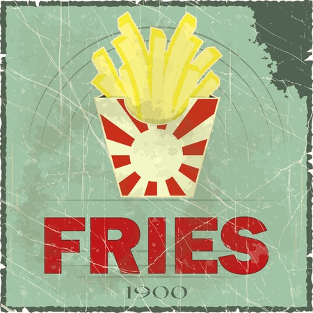 french fries: Grunge Cover for Fast Food Menu - fries on vintage background - vector illustration