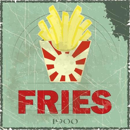 eating fast food: Grunge Cubierta para men� de comida r�pida - papas fritas en el fondo la vendimia - ilustraci�n vectorial