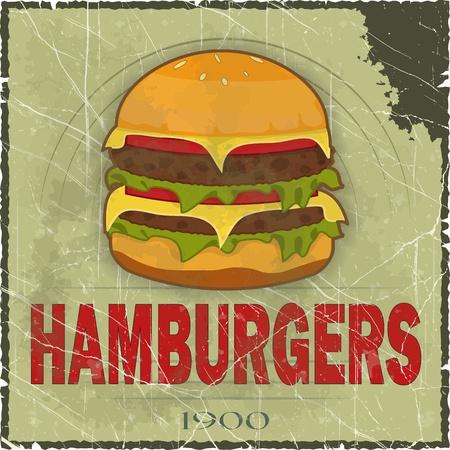 eating fast food: Grunge Cubierta para men� de comida r�pida - la hamburguesa en el fondo la vendimia - ilustraci�n vectorial