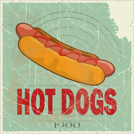 Grunge Cover for Fast Food Menu - hot dog on vintage background - vector illustration Stock Vector - 12487547