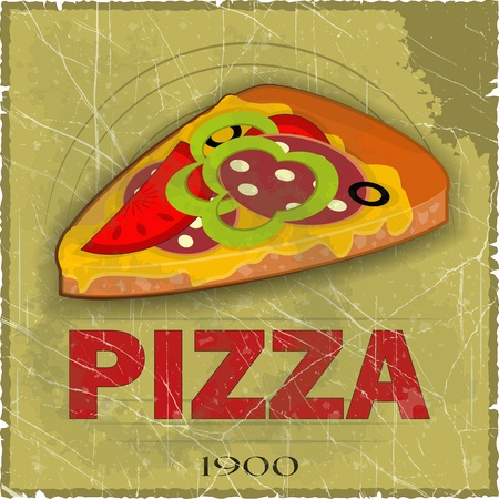 crust: Grunge Cover for Pizza Menu -  slice of pizza on vintage background - vector illustration