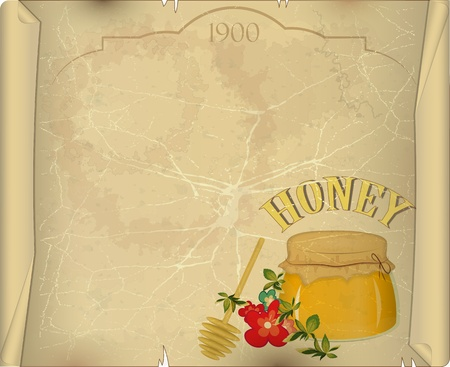 honey pot: Vintage Postcard - Honey and Flowers on Old Paper Background - vector illustration with place for text