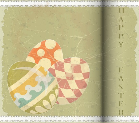 Easter Eggs -  old postcard in vintage style - vector illustration Stock Vector - 12487550