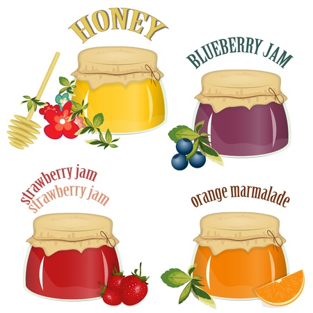 strawberry jelly: jars of jam and honey isolated on white background - vector illustration Illustration