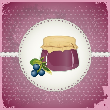 Vintage Postcard - Blueberry Jam on a retro background - vector illustration Vector