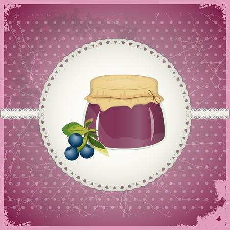 blueberry jam: Vintage Postcard - Blueberry Jam on a retro background - vector illustration