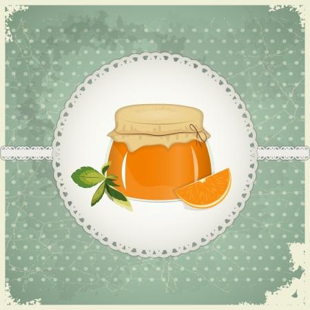 jam jar: Vintage Postcard - Orange Jam on a retro background - vector illustration Illustration