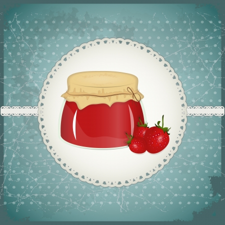 Vintage Postcard - strawberry jam on a retro background - vector illustration