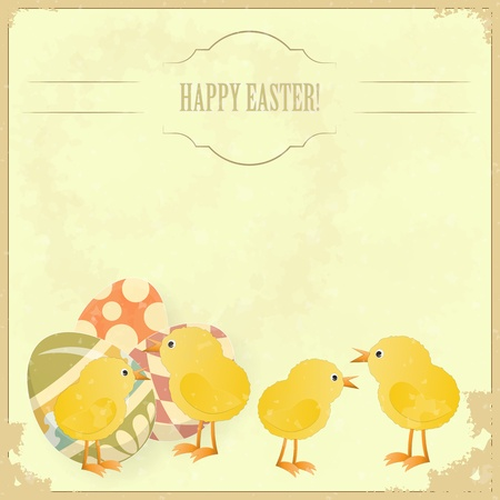 cartoon easter: vintage Easter greeting card with colored eggs and chickens - vector illustration