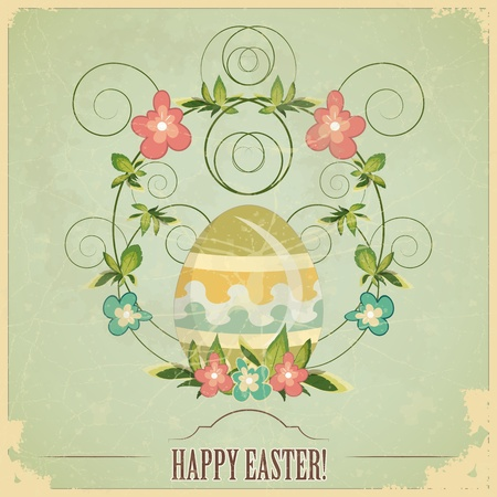 vintage Easter greeting card with colored eggs and flowers