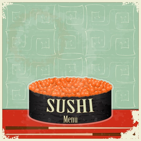 Vintage Sushi Menu - the food on grunge background  Vector