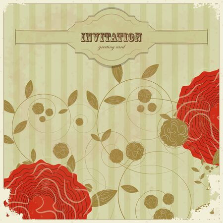 Vintage card with with flower and place for text - scrapbook style  Stock Vector - 12801962