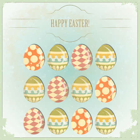 Easter Eggs -  old postcard in vintage style Stock Vector - 12801945