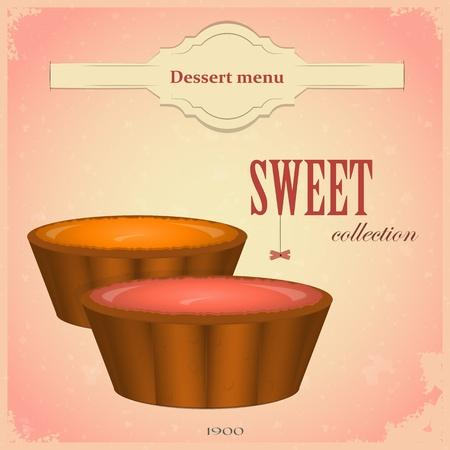 bakery menu: Fruit cakes - Vintage postcard, Menu cover Illustration