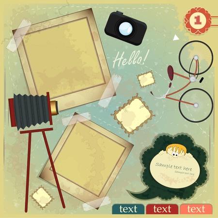 album: Vintage card - scrapbook elements on grunge background Illustration