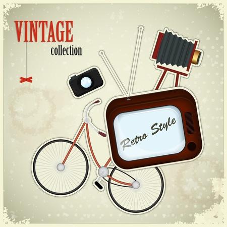 analog camera: Retro poster - vintage stuff on grunge background  Illustration