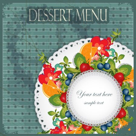Vintage Cover Dessert Menu - fruits and berries - with place for text Vector