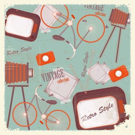 coisa: Abstract vintage background - retro items and cards Ilustra��o