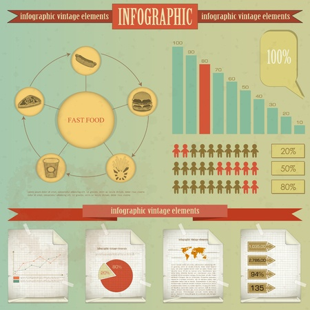hot dog label: Vintage infographics set - fast food theme