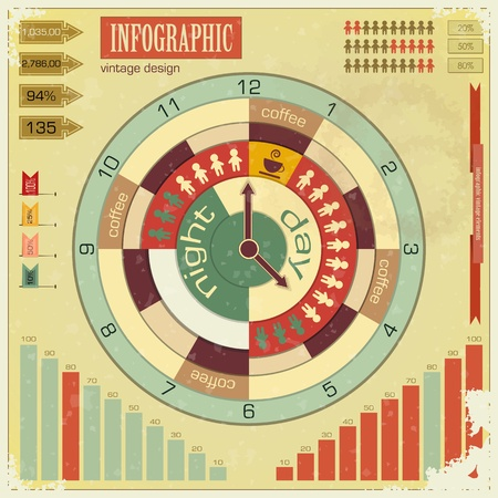time work: Infographics vintage elements - work time concept