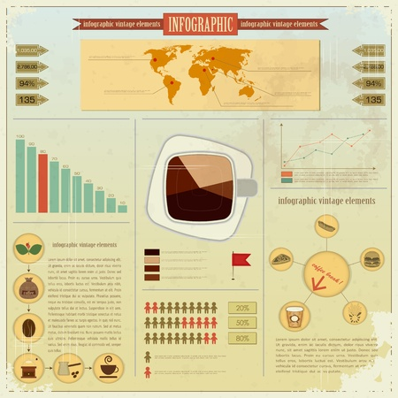 Vintage infographics set - coffee icons and elements for presentation and graph  Stock Vector - 12801961