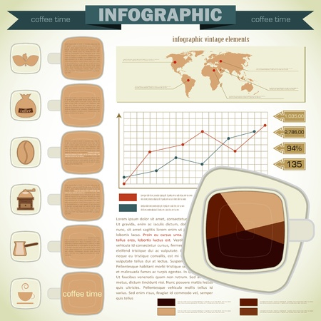 Vintage infographics set - coffee icons and elements for presentation and graph  Vector