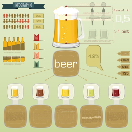 beer pint: Vintage infographics set - beer icons and elements for presentation and graph