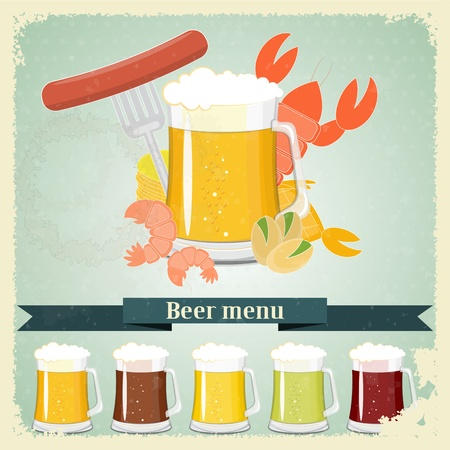 Vintage postcard, cover menu - Beer, beer snack - Retro style  Vector