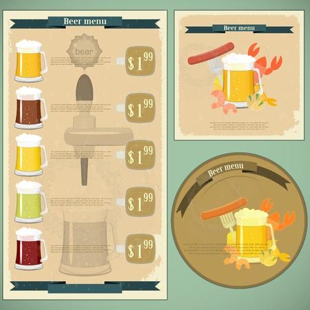 postal vintage: Postales antiguas, men� de la cubierta - Cerveza, cerveza, aperitivos - Estilo retro Vectores